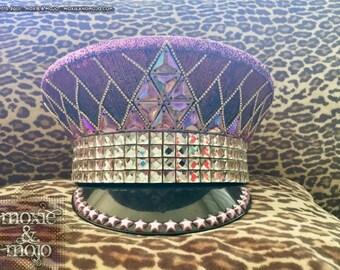 Burning Man Festival Hat.  Military hat, ibiza coachella festival Hat. Pilot Hat. Burning man headpiece