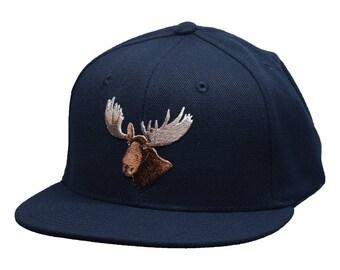 Moose Head Snapback Hat by LET'S BE IRIE - Navy Blue