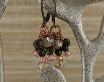 Copper & Garnet and Swarovski Crystal Earrings with Lever Back Findings
