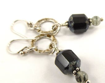 Elegant and Classic Drop Earrings, Hammered Sterling Gemstone Jewelry for Special Occasion