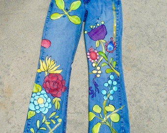 Women's Hand Painted Denim Blue Jeans Size Ten Low Rise Bootcut Vintage Jeans Hand  Fringed By VintageReinvented