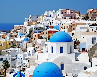 Santorini Greece Photography - Travel Photography - Cobalt Blue Domes White Church Photo Greek Islands Picture Mediterranean Decor Wall Art