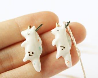 Porcelain Unicorn Necklace - 22K Gold Horn, Unicorn Pendant, Handmade Unicorn, Unicorn Totem, Ceramic Unicorn, Ceramic Animal