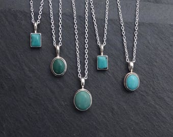 Turquoise Pendant, Turquoise Necklace, Turquoise and Silver Pendant Necklace, December Birthstone, Sterling Silver