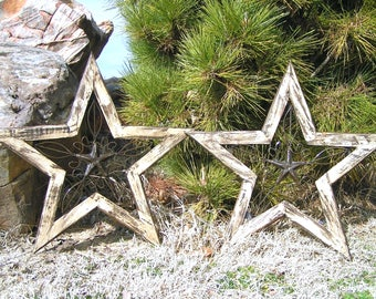 TWO Handmade Southwest Folk Art New-Iron-Wood-Hand Painted Shabby Off White Stars