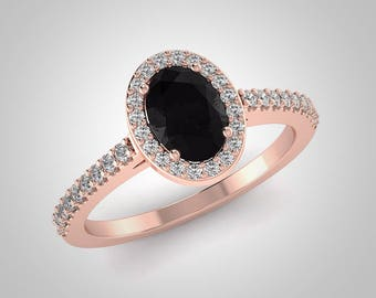 Oval Black Diamond Engagement Ring, 14K Rose Gold Oval Conflict Free White and Black Diamond Wedding Ring RE00174BK