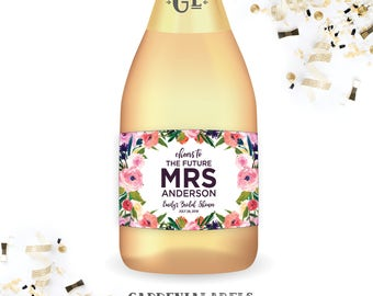 Bridal Shower Mini Champagne Labels, Miss to Mrs Bachelorette Party Label, Bridal Shower Decorations, Floral Future Mrs Bridal Shower Favor