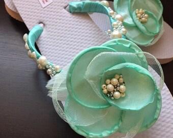 Denise Bridal Flip Flops, Custom Flip Flops, Aqua Floral Dancing Shoes, Aqua Pearl Bridal Sandals, Wedding Flip Flops, Beach Wedding Shoes