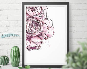 Peony Flowers printable wall art for home and office - instant download you can print in any size