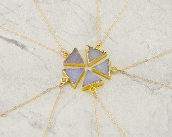 Triangle Gemstone Necklace, Druzy Necklace, Genuine Gemstone Necklace, Bridesmaid Jewelry, Mother's Day Gift