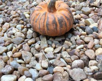 Concrete cement Pumpkin handpainted small