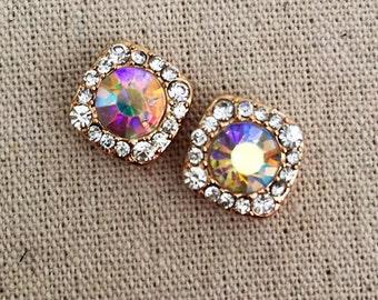 CRYSTAL EARRING Studs Gold AB Cushion Cut Crystal Earrings Bridesmaid Jewelry Wedding Earrings Crystal Earrings