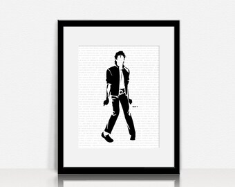 Beat It / Michael Jackson - Lyrics Wall Art - Digital Instant Download