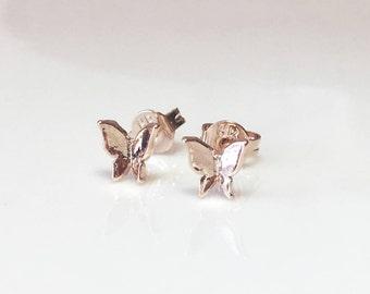 Tiny Butterfly Earrings, Rose Gold Butterfly Earrings, Gold Butterfly Stud Earrings, Mini Butterfly Studs, Small Gold Studs, Dainty Earrings