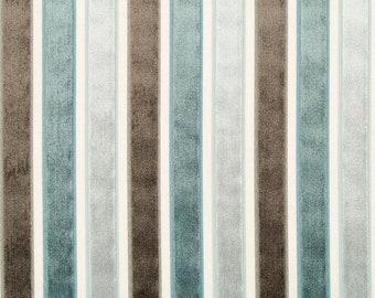 Grey Blue Stripe Velvet Upholstery Fabric by the Yard - Grey Velvet Pillows - Steel Blue Velvet Fabric - Blue Brown Stripe Furniture Fabric
