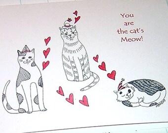 Cat Valentine's Day Card, Cat Valentine, Kitty Valentine, Cat Anniversary Card, Kitty Wedding Card, Romantic Cat Card