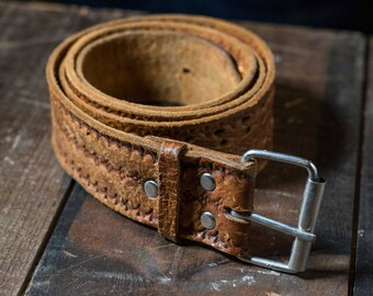 Vintage tan hand tooled leather belt