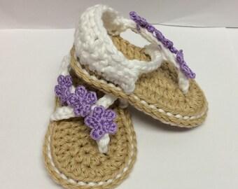 Crochet Carefree Baby Sandals - Crochet Flower Sandals - Baby Shower Gift