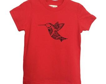 Red Hummingbird Kids Tshirt American Apparel Cotton Sizes 2-4-6 Children Tee Clothing