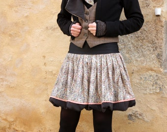 Green gray pink Acetate.biais pink patterned small ball skirt with black dots and bottom gray silk. Creative woman skirt