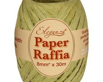 Paper Raffia Tying Ribbon - Sage Green -  8mm  x 30m Roll - Vintage Wedding, Gift Wrap, Bows, Crafts, Floristry