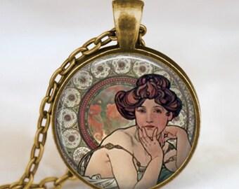 Alphonse mucha necklace, Art Nouveau necklace , alphonse mucha art pendant, friend family gift, art lover gift idea