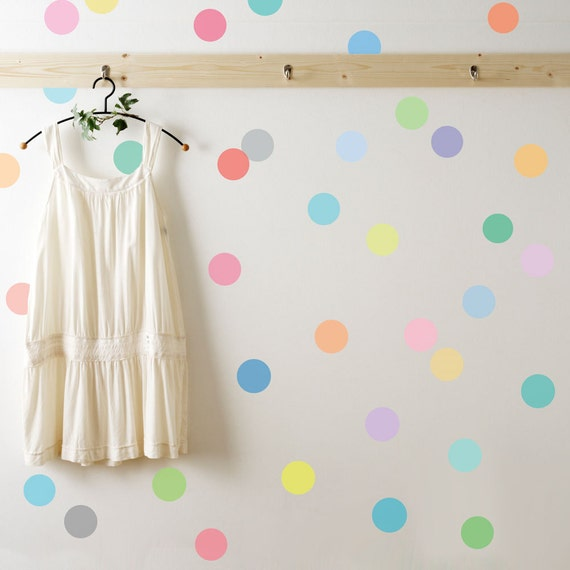Wall Decals Dots Sorbet Colored Confetti Polka Dot Wall - Wall decals polka dots