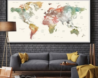 Large world map fingerprint world map 24x36 world map world map watercolor world map large world map large world map poster large gumiabroncs Gallery