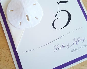 7x7 Regal Sandollar Ivory and Puprle Self Standing Table Numbers