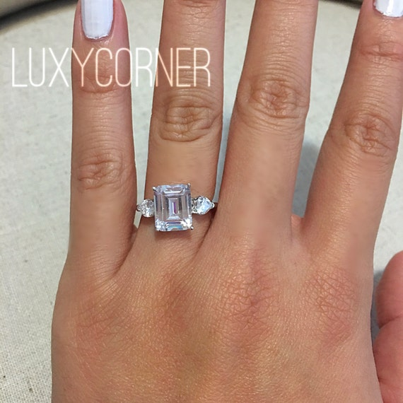 Engagement Ring Emerald Cut Rectangle Engagement Ring