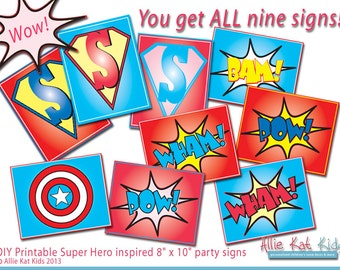 Super Hero Inspired Printable INSTANT DOWNLOAD Sign Wall Art Banner Photo Prop by Allie Kat Kids