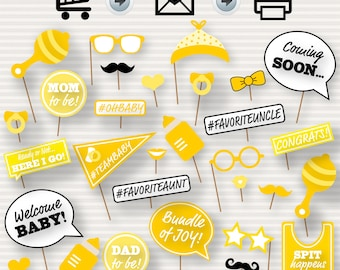 Baby Shower Printable Photo Booth Props - Baby Shower Photobooth Props - Yellow Baby Shower Printables - Gender Neutral Photo Booth -neutral
