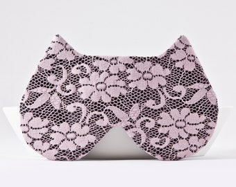 Lace Sleep Mask for Women, Pink Wedding Sleep Mask, Lace Blindfold, Cat Lover Gift, Pink Eye Pillow, Travel Pink Sleep Mask