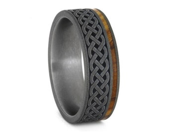 Celtic Knot Ring, Renaissance Wedding Ring in Titanium, Mens Wood Wedding Band with Celtic Knot Engraving