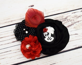 Handcrafted Red and Black Victorian Sugar Skull Hair Clip - Red Peacock Feather Hair Piece - Adult Hair Accessory - Skull Polka Dot Hair Bow
