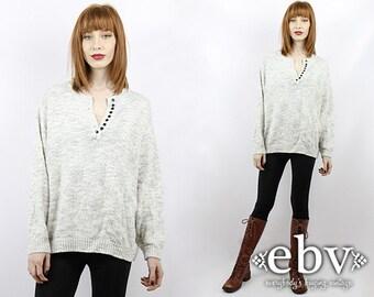 Oversized Sweater Plus Size Vintage Plus Size Sweater Vintage 80s Ice Grey Pullover Sweater Vintage Sweater  Vintage Jumper Grey Sweater
