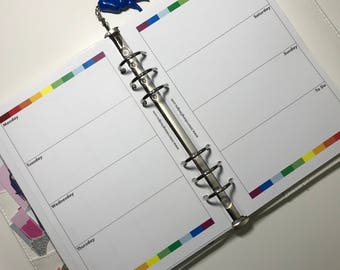 Undated - A5 and Personal Planner Inserts - Week on Two Pages - Rainbow Series - 3 Months