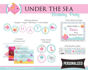 Under The Sea Party PRINTABLE DIY - for Girls (Pink) Birthday Package - Fish - Invitation Banner Party Circles etc