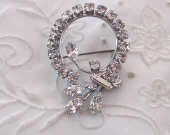 Vintage Silver Tone Clear Faceted Rhinestone Covered Brooch