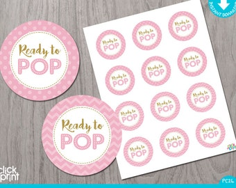 Pink and Gold Print Yourself Girl Baby Shower Cupcake Toppers or Stickers Ready to Pop, Pink and Gold Girl Baby Shower Decoration