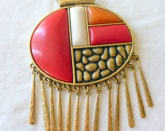 Lucky Brand Red Dangle Statement Pendant Necklace
