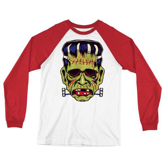 Retro Frankenstein Long Sleeve Baseball T-Shirt