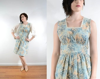 60s Floral Print Apron Dress Square Neckline Cotton Candy Large Floral Print Gathered Bodice Mod // Xs Small
