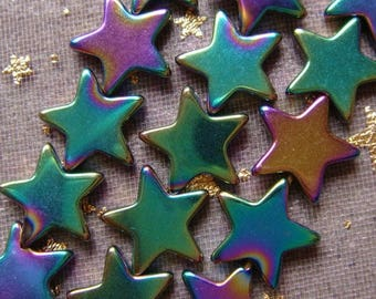 5 beads Hematite stars multicolor 10 MM.