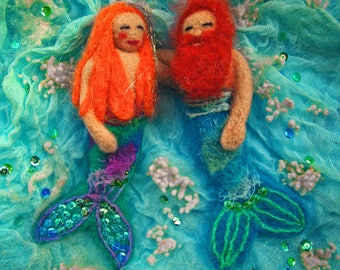 Felt Mermaid and Merman Greetings Card Valentine's Anniversary Wedding Engagement  from original Needle Felted picture