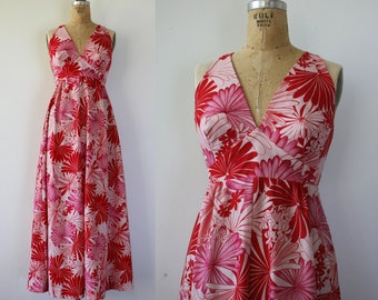 1960s vintage maxi dress / 60s halter maxi dress / Hukilau Fashions dress / 60s pink & red floral print dress / 60s hawaiian maxi dress