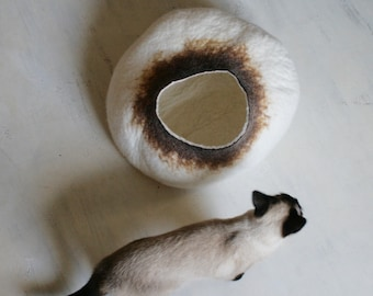 Cat Nap Cocoon Cave Bed House Vessel Bowl Furniture Sphere - Hand Felted Wool - Crisp Contemporary Modern Design READY TO SHIP Latte Bubble