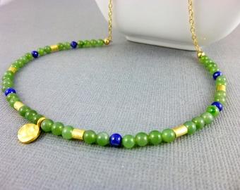 Nephrite Jade & Lapis Chakra Necklace, Heart Chakra / Third Eye Chakra / Throat Chakra, Gold Vermeil, Healing Crystals Chakra Energy Jewelry