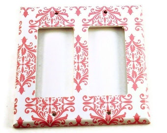 Rocker Switch plate Light Switch Cover in  Pink Damask (152DR)