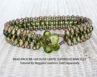 Bead Pack BB-169 Olive Lentil Superduo Bracelet, Tutorial by ReggiesCreations Sold Separately, BB169 Olive Lentil Superduo Bead Pack